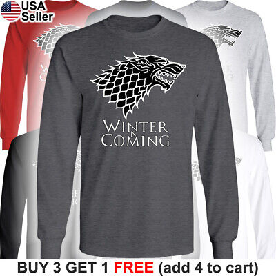 Game of Thrones Long T-Shirt House Stark Dire Wolf Winter is Coming Direwolf GoT