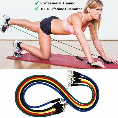 11PCS Resistance Exercise Band Yoga Pilates Abs Fitness Tube Workout Bands