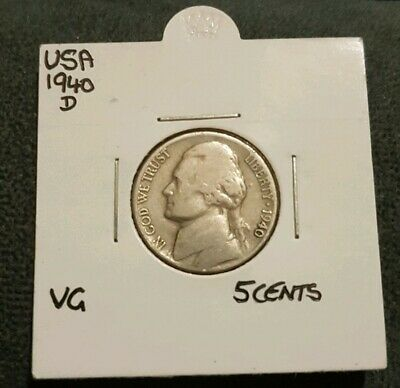 1940 D USA Nickel 5 Cents VG