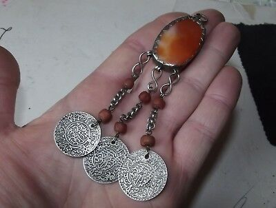 Large Antique 1900 Moroccan Berber Silver Stone Red Coral Pendant Islamic Jewel
