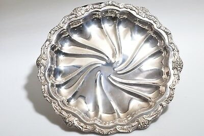 Antique Large Unmarked Silver Plate Round  Serving Platter 15.5""