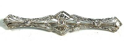 Victorian Era Solid 14K White & Yellow Gold, Diamond Filagree Brooch