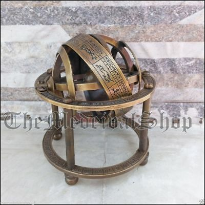 Antique Style Solid Brass Armillary Sphere Vintage Tabletop Gift Astrolabe Globe