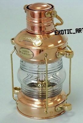 Brass and Copper SHIP Hanging Boat Light NAUTICAL LANTERN LEEDS ANCHOR LAMP GIFT