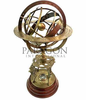 "Large Armillary Big Globe Brass 18"" Astrolabe Globe Zodiac Engraved Wooden Base"