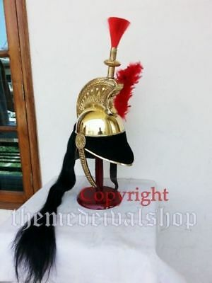Brass French Cuirassier Officer's Helmet Napoleon Style Helmet on Wooden Stand