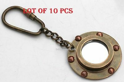 Lot of 10 pcs Vintage Solid Brass Porthole Mirror Key Chain Nautical Jewellry