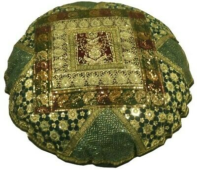 "40"" Green Glittering Ethnic Décor Sari Beads Throw Accent Cushion Pillow Cover"