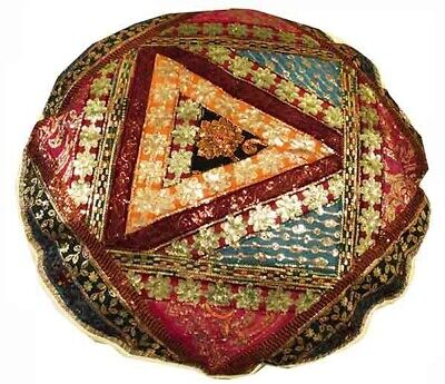 "40"" Beige Antique Sari Art Décor Beadd Moti Floor Throw Bed Cushion Pillow Cover"