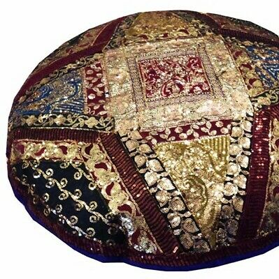 "40"" Purple Gorgeous Antique Sari Bead Decor Floor Throw Bed Cushion Pillow Cover"