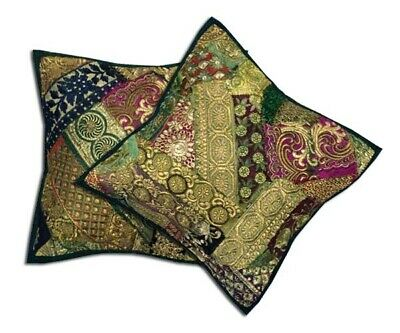 "16""-2 Deep Green Vintage Sari Sequin Beaded Accent Floor Cushion Pillows Covers"