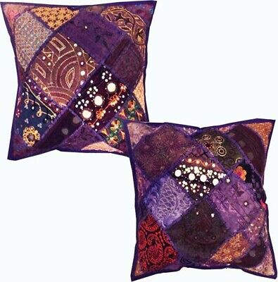 "16""-2 Purple Vintage Banjara Folk Tribal Kutch Throw Bed Cushion Pillow Covers"