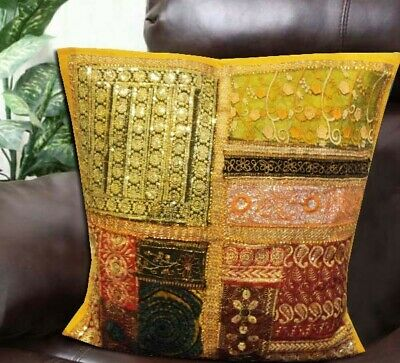 "24"" Yellow Handcrafted Kundan Vintage Sari Textile Throw Cushion Pillow Cover"