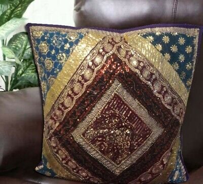 "24"" Purple Traditional Sari Beads Sequin Handcrafted Throw Cushion Pillow Cover"