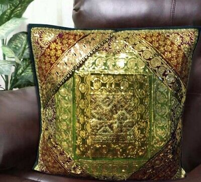 "24"" Deep Green Vintage Sari Textile Art Moti Kundan Throw Cushion Pillow Cover"