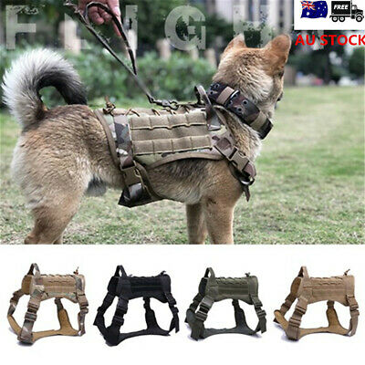 M/L/XL 1000D Nylon Tactical Training Dog Harness Military Adjustable Molle Vest