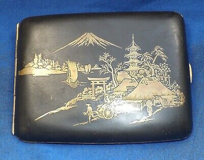 Vintage Japanese Cigarette Case With Mount Fuji Scene