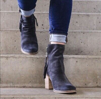 """de84382a91b """"LANIE"""" DISTRESSED GREY Suede Ankle Boots Size 8 By Dolce Vita"""