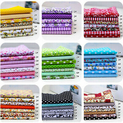 7Pcs 100% Cotton Fabric Assorted Pre-Cut Bundle DIY Decor 25cm