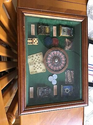 Vintage Old Framed Art Gambling
