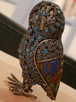 ANTIQUE early 1900s Chinese Filigree Cloisonne Owl. Exc cond