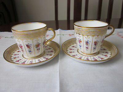 Two Stunning Hand Painted Antique Floral And Gilt Cups And Saucers