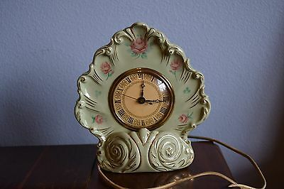 Johnson Electric Clock Green Porcelain By Telechron With Night Light Vintage