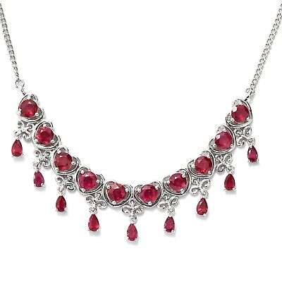 """16"""" 20 Ct Round Pear Cut Red Ruby 14K White Gold Over Heart Drop Charm Necklace"""