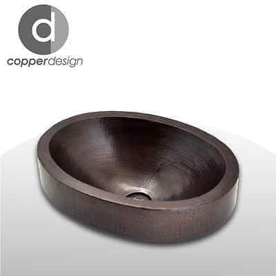 "Hand Hammered Copper Oval Bath Vessel Sink with apron 19""x14"""