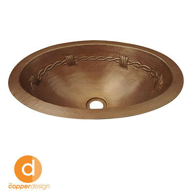 "Hammered Copper Oval Bath Sink Barbwire design 19""x14"""