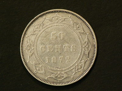 Canada Newfoundland 1872 H 50 Cents Sterling Silver #G9732