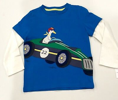 NWT 2//3 3//4 4//5 5//6 Mini Boden Faux Layer Whimsical Duck in Racing Car Applique