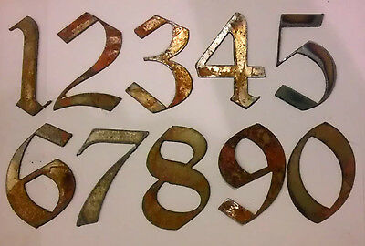 3 inch Rough Rusty Metal Vintage Gothic Style Set Numbers 0 1 2 3 4 5 6 7 8 9