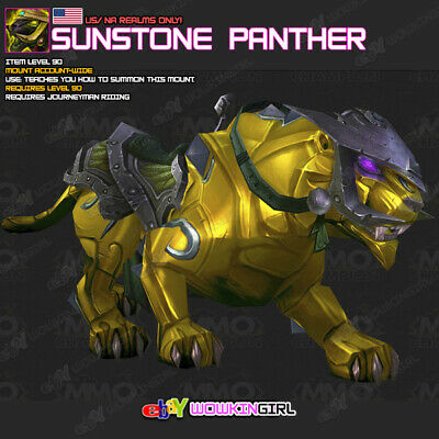 Sunstone Panther US//NA Servers World of Warcraft WoW Rare Mount Loot Card