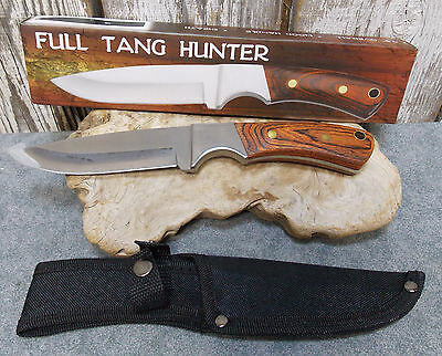"Full Tang Heavy Duty Hunting Knife 9.5"" Wood Handle Camping Survival 210915"