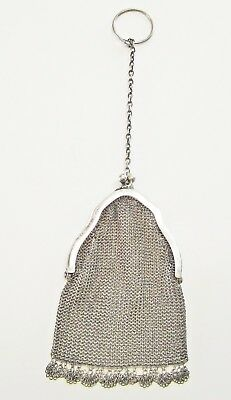 Antique Early 1900s 800 Silver Ornate Mesh Miniature Finger Purse