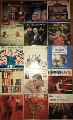 LOT OF 15 ASSORTED VINTAGE LPs 33 RPM MOSTLY FROM THE 50's&60's,Jazz,Piano Etc