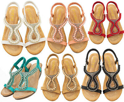 Womens Ladies Flat Low Wedge Diamante Sandals Summer Beach Holiday Party Shoes