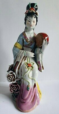 Chinese vintage large hand painted figure of a geisha musician