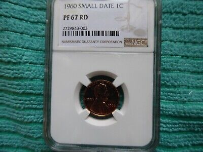 1960 Small Date Lincoln Cent, Proof 67 Red,