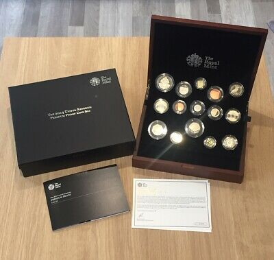 Superb UK 2014 Royal Mint 15 Piece Premium Proof Coin Set. Cased With COA.