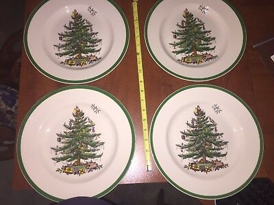 Spode Christmas Tree 10 Inch Dinner Plates Set of 4 New in box