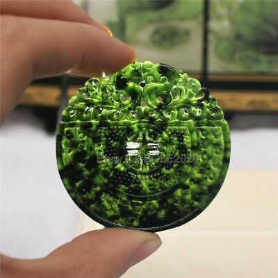 Chinese Black Green Jade Carved Dragon PIXiu Lucky Pendant Necklace JDY50