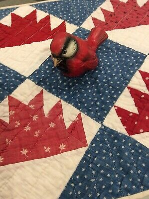 Antique 1800s Red White Blue Doll Table Quilt 20 x 12 1/2  Beautiful!