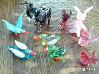 Vintage collection of nine glass animals / birds.