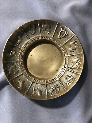 VINTAGE Chinese Zodiac Cast Brass Trinket Dish - Made in Korea - Collectible