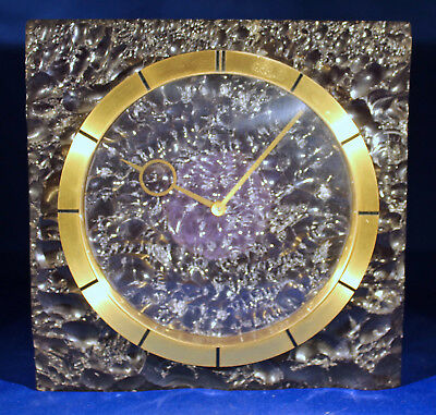 Vintage Lecoultre Amethyst Colored Transparent Resin Desk Mantle Clock Running