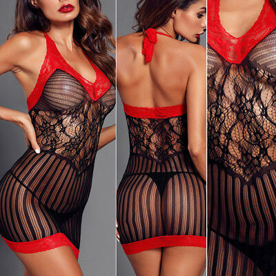 1PC Black Net Red Lace Floral Dress Sheer Cutout Striped Hole Mini Clubwear OS