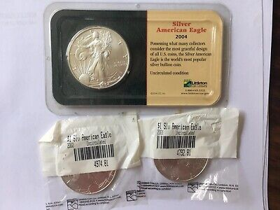 American Eagle Silver Dollar Coins 2001, 2002, And 2004 3 oz Silver
