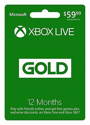 Microsoft - Xbox Live 12 Month Gold Membership instant email delivery.